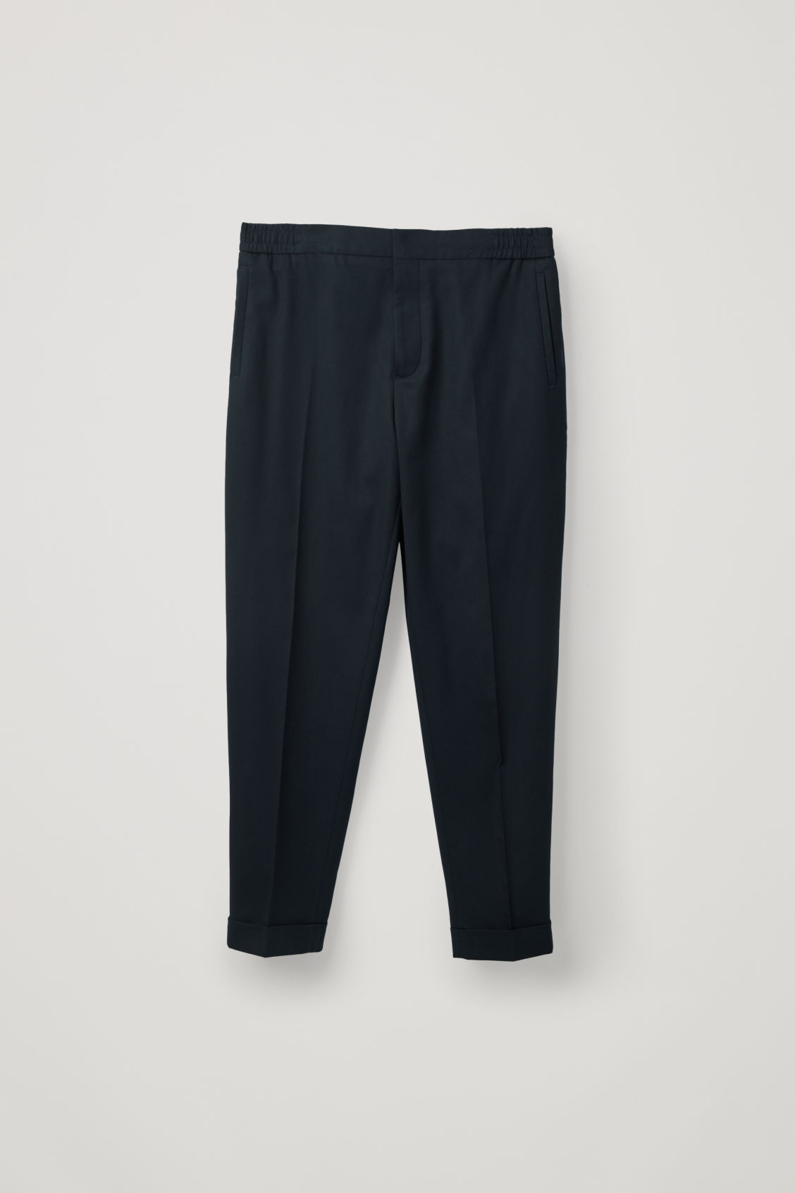 Front image of Cos relaxed turn-up trousers in blue