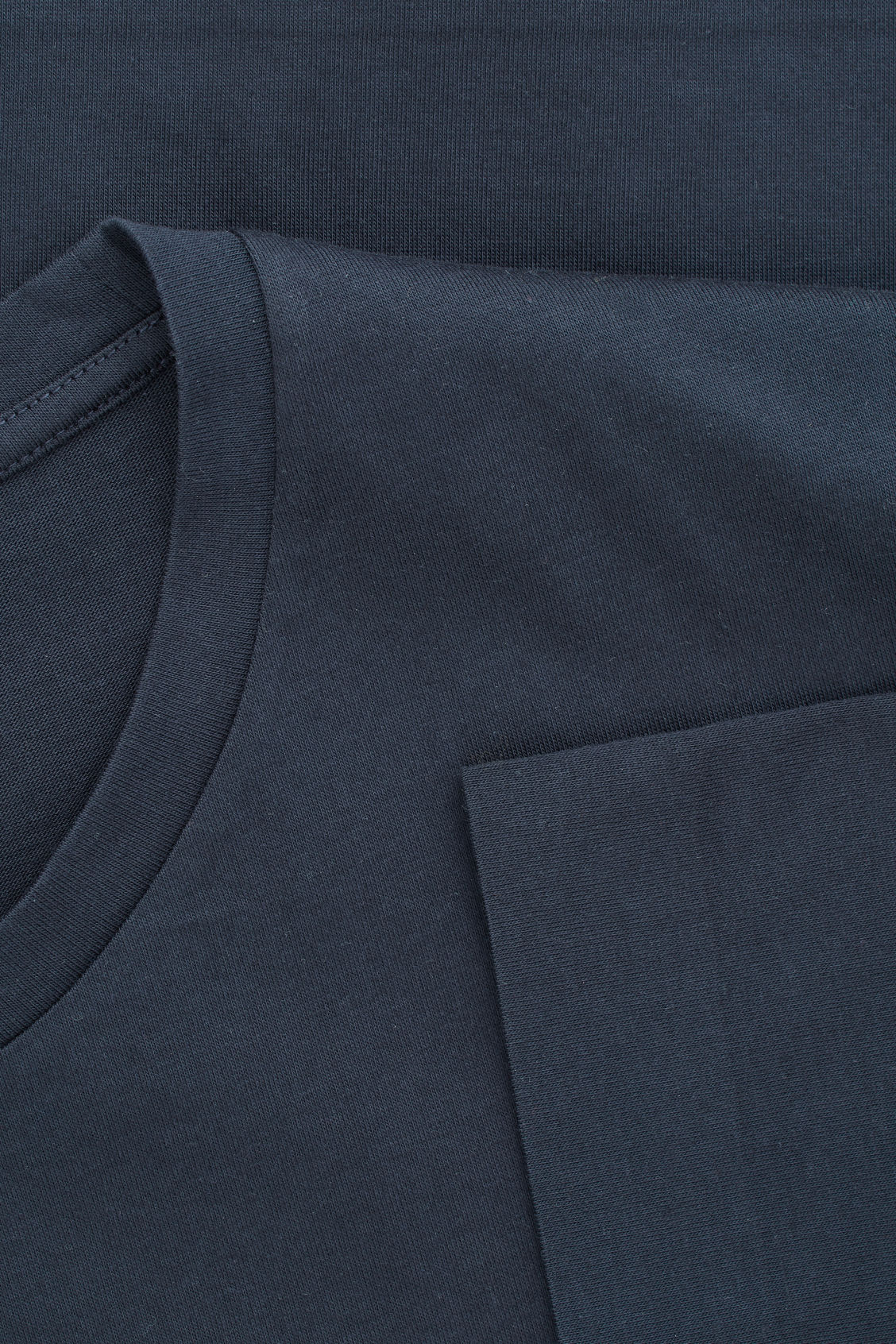 Side image of Cos bonded cotton t-shirt in blue