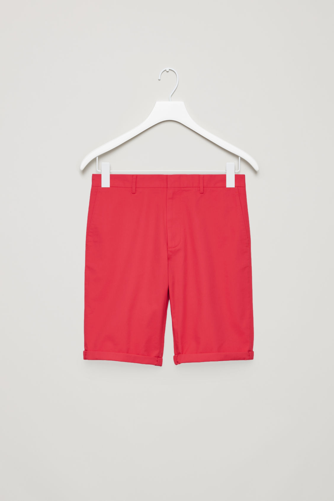 Side image of Cos cotton-twill shorts in red