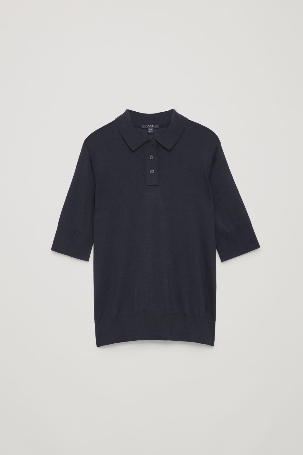 Front image of Cos silk-cotton polo shirt in blue