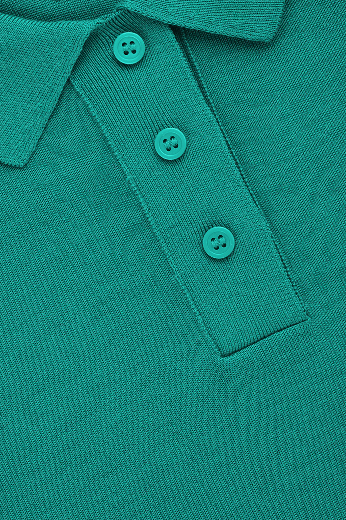 Side image of Cos silk-cotton polo shirt in green