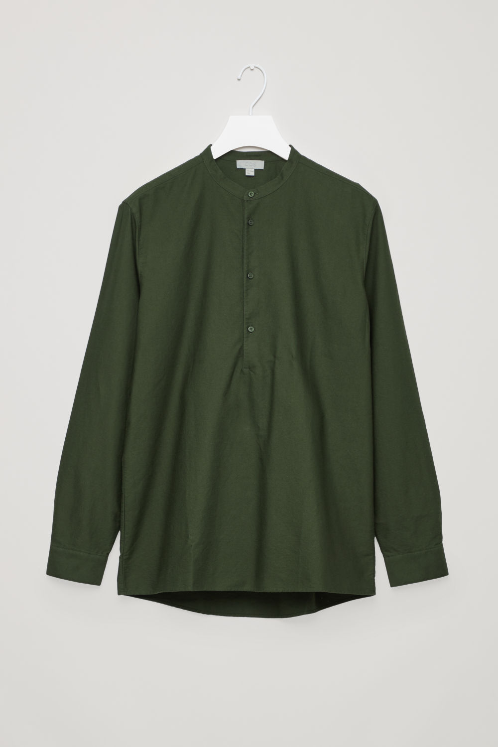 GRANDAD-COLLAR TUNIC SHIRT