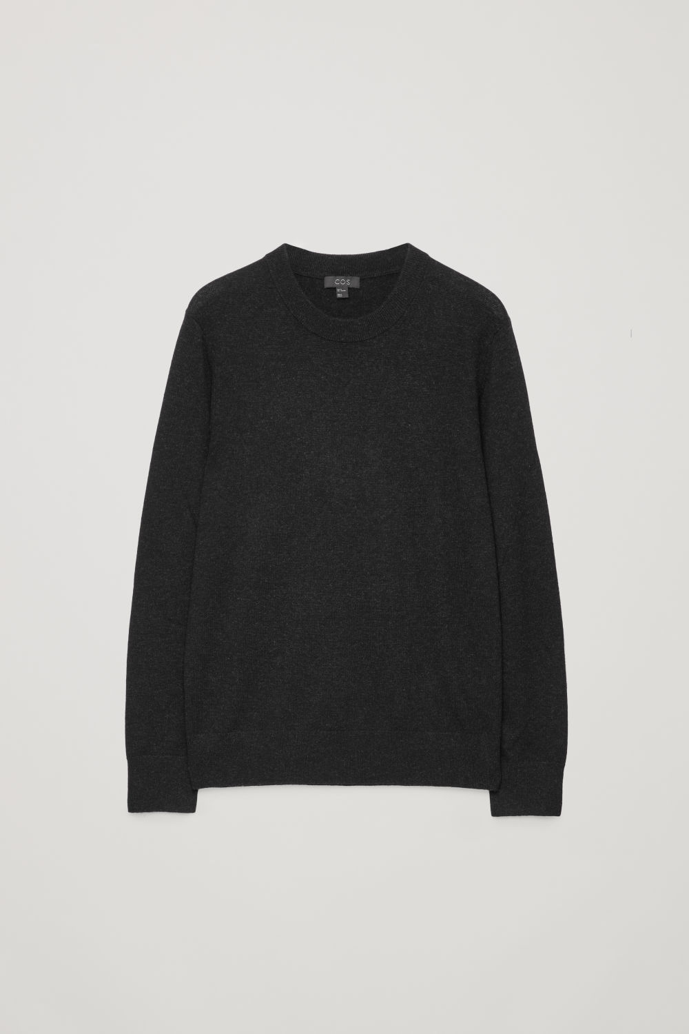Front image of Cos wool-yak crew-neck jumper in black
