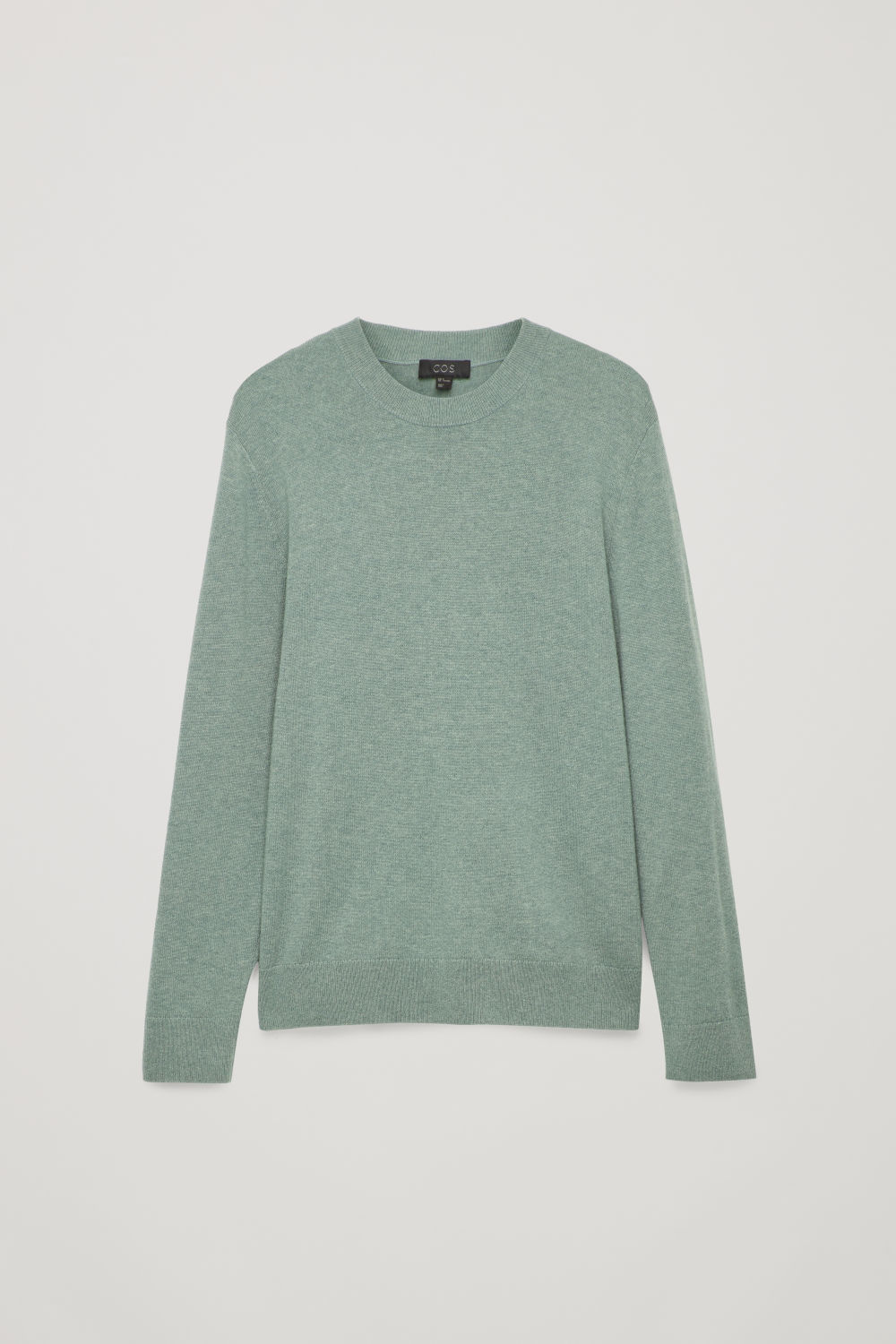 Front image of Cos wool-yak crew-neck jumper in green