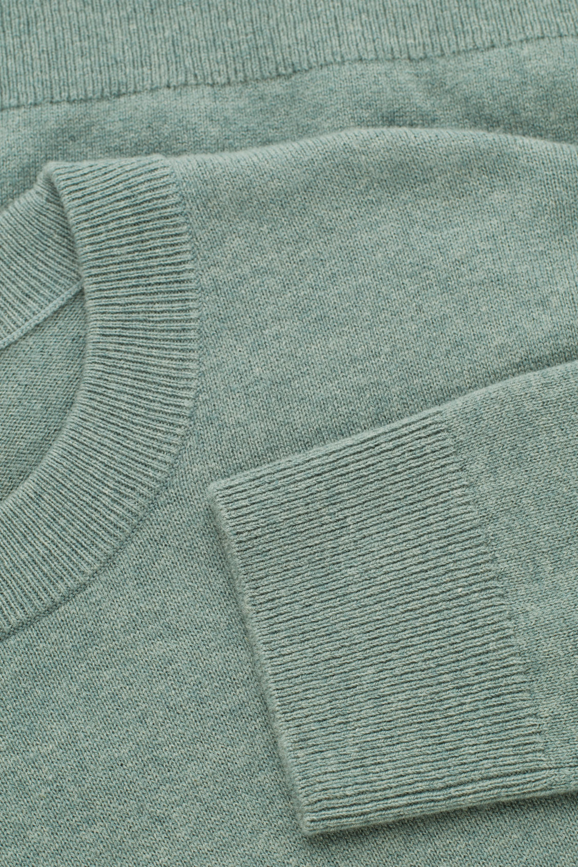 Side image of Cos wool-yak crew-neck jumper in green