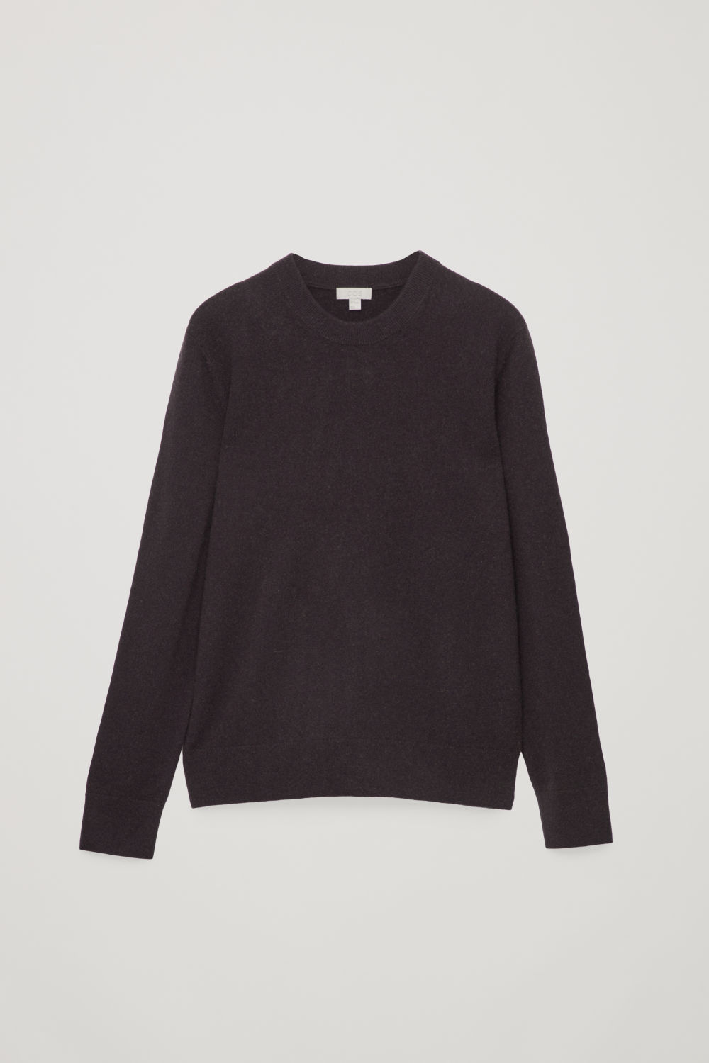 Front image of Cos wool-yak crew-neck jumper in brown