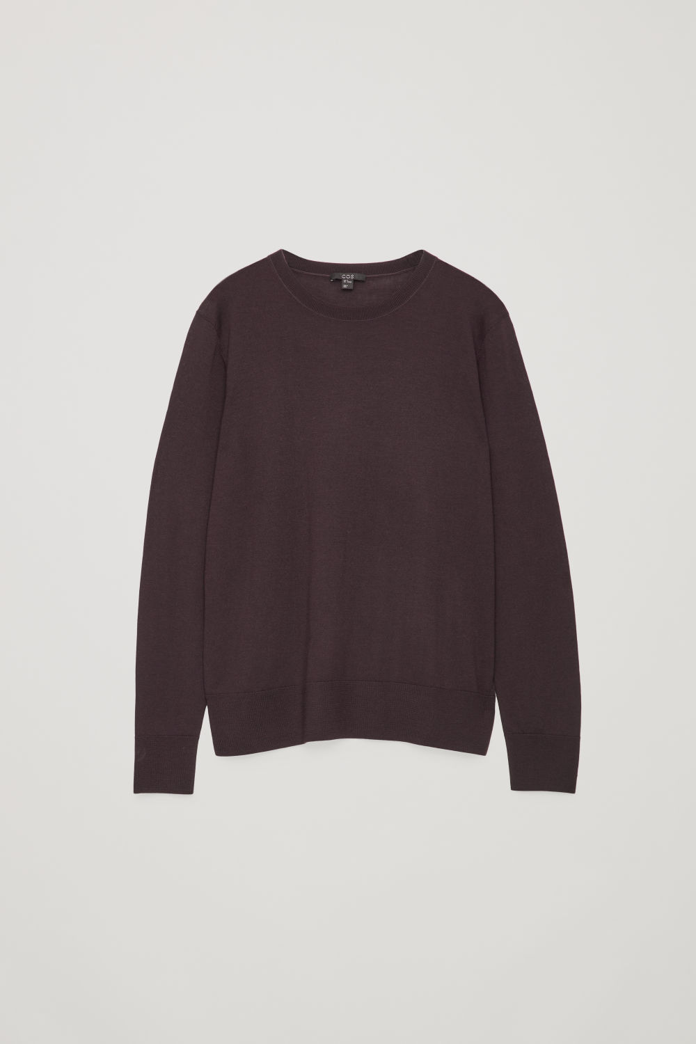 Front image of Cos round-neck merino jumper in purple