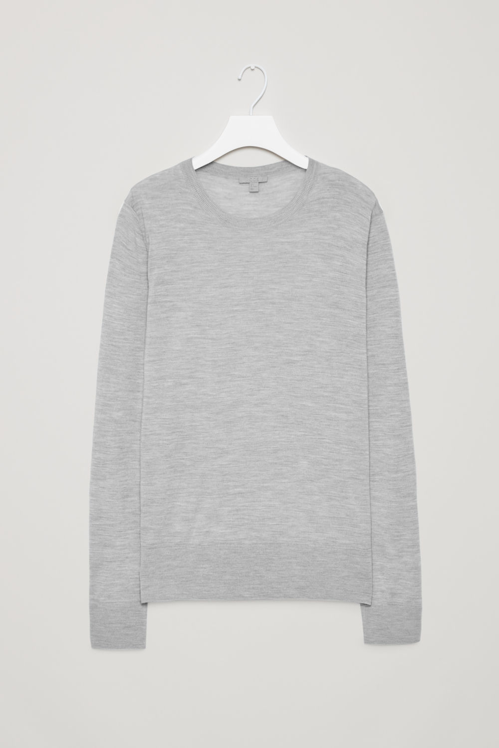 Front image of Cos round-neck merino jumper in grey