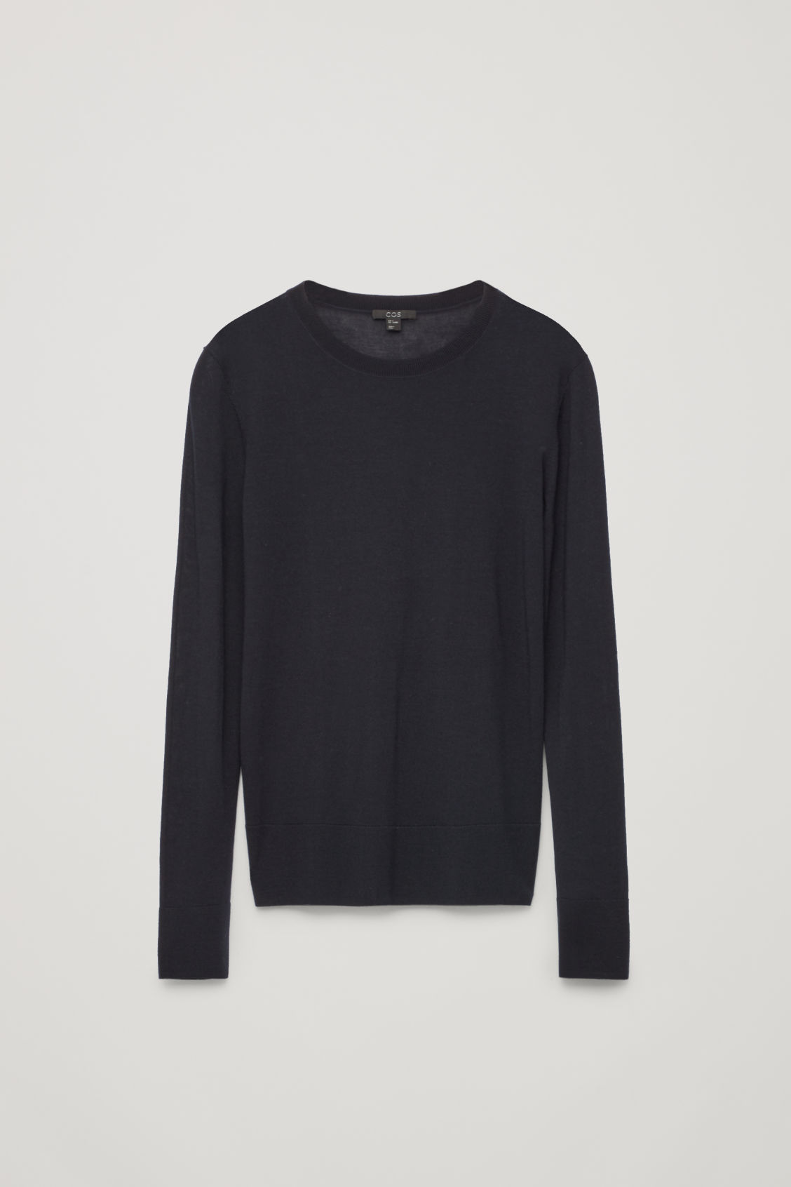 Front image of Cos round-neck merino jumper in blue