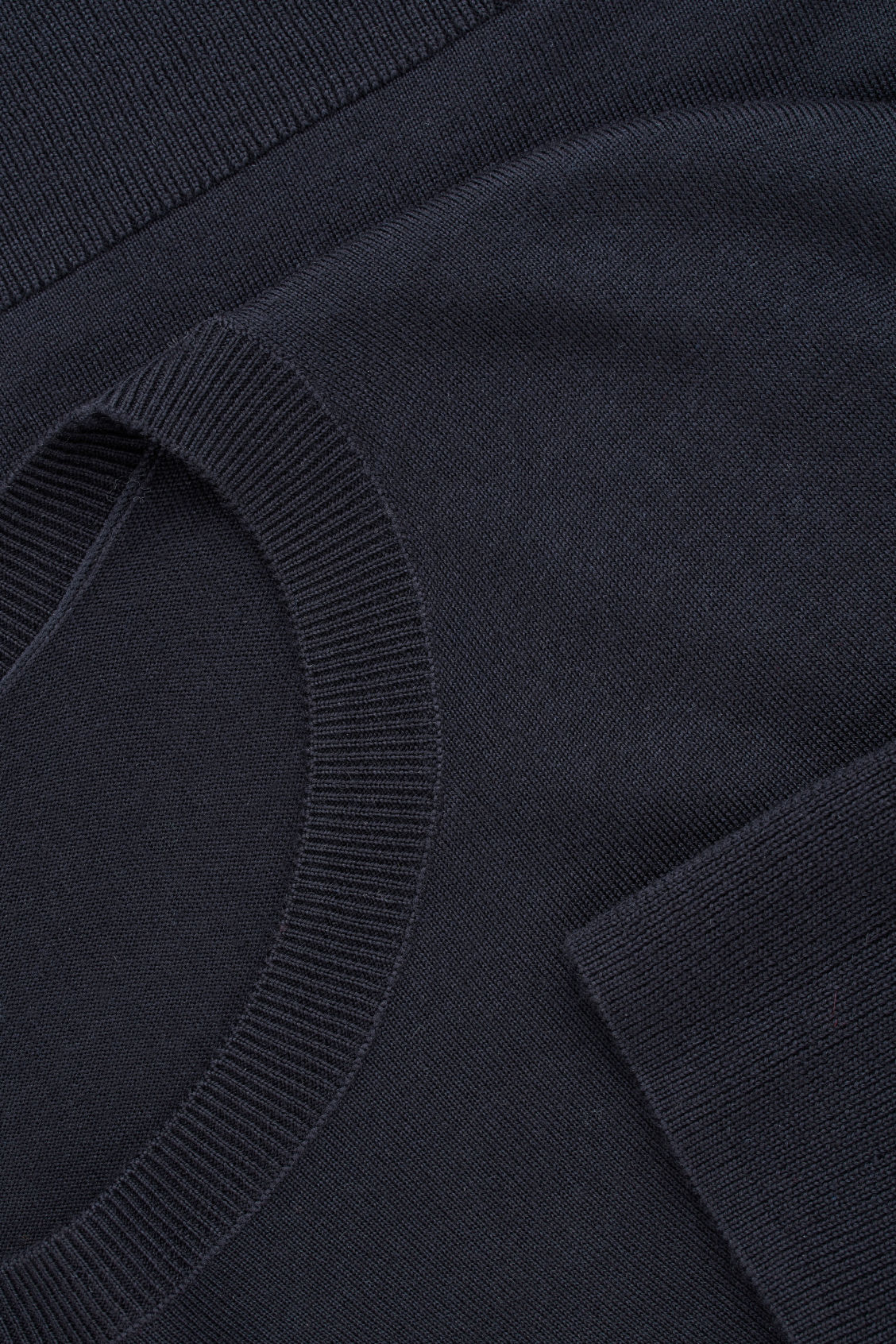 Side image of Cos round-neck merino jumper in blue