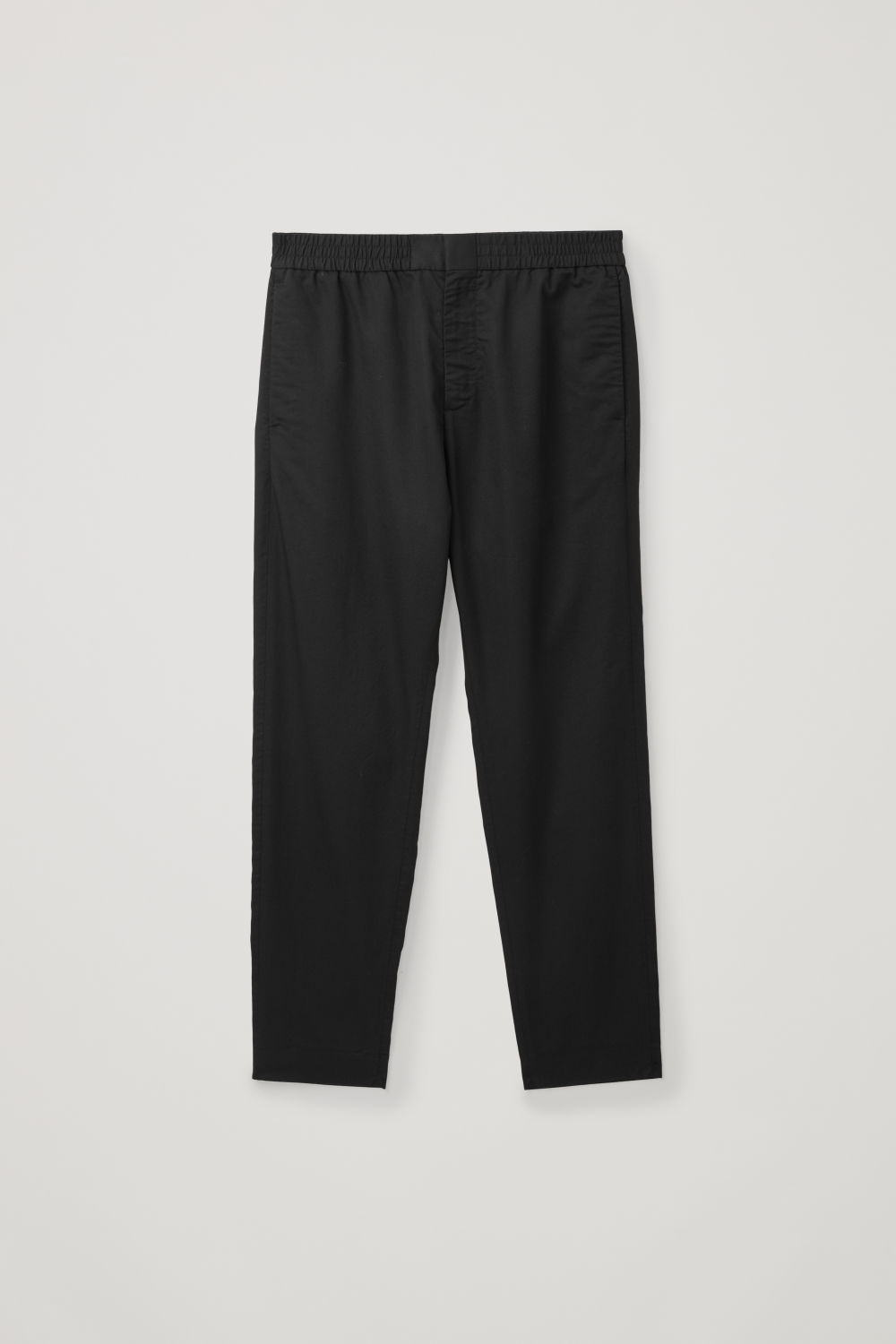 Front image of Cos tailored trousers with elasticated waist  in black