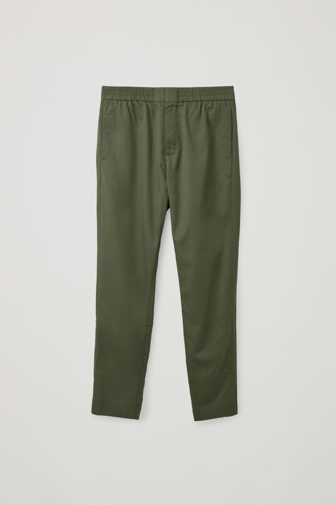 Front image of Cos tailored trousers with elastic waist in green