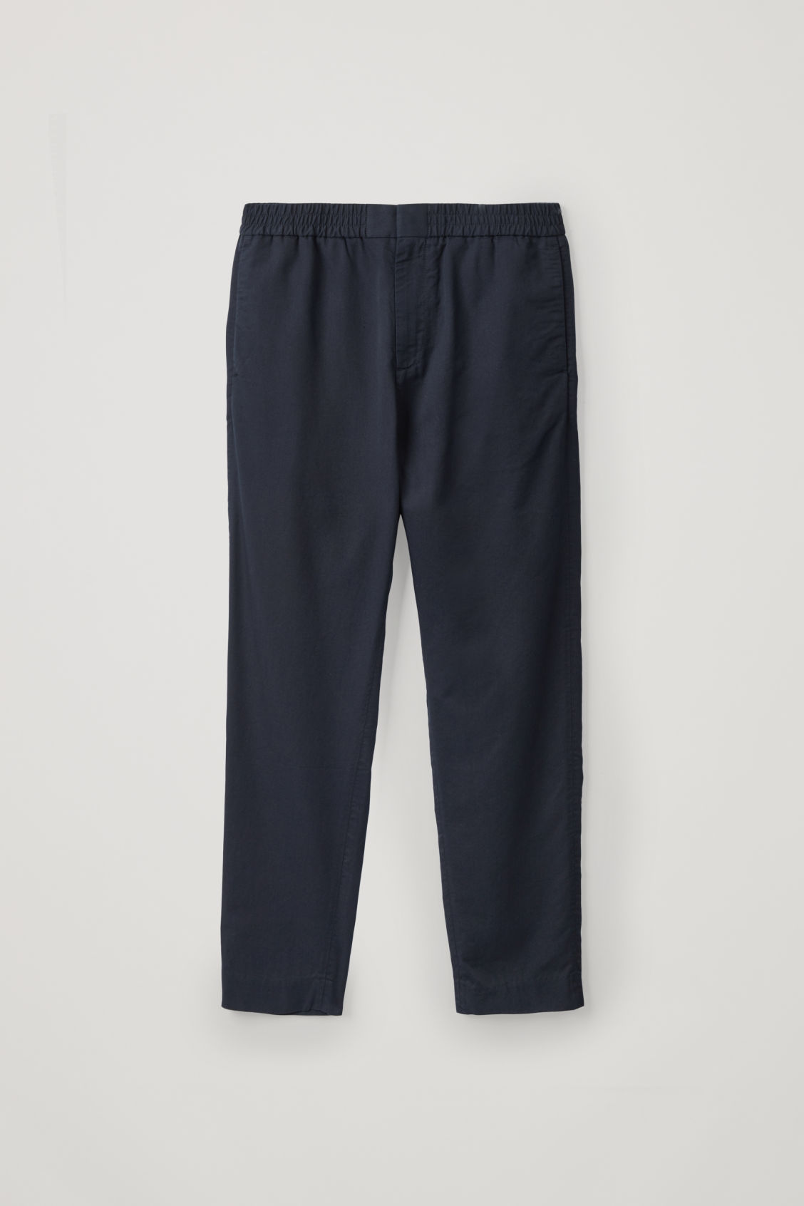 Front image of Cos tailored trousers with elastic waist in blue