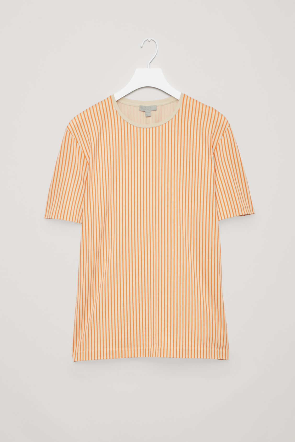 Front image of Cos fine-striped cotton t-shirt in orange