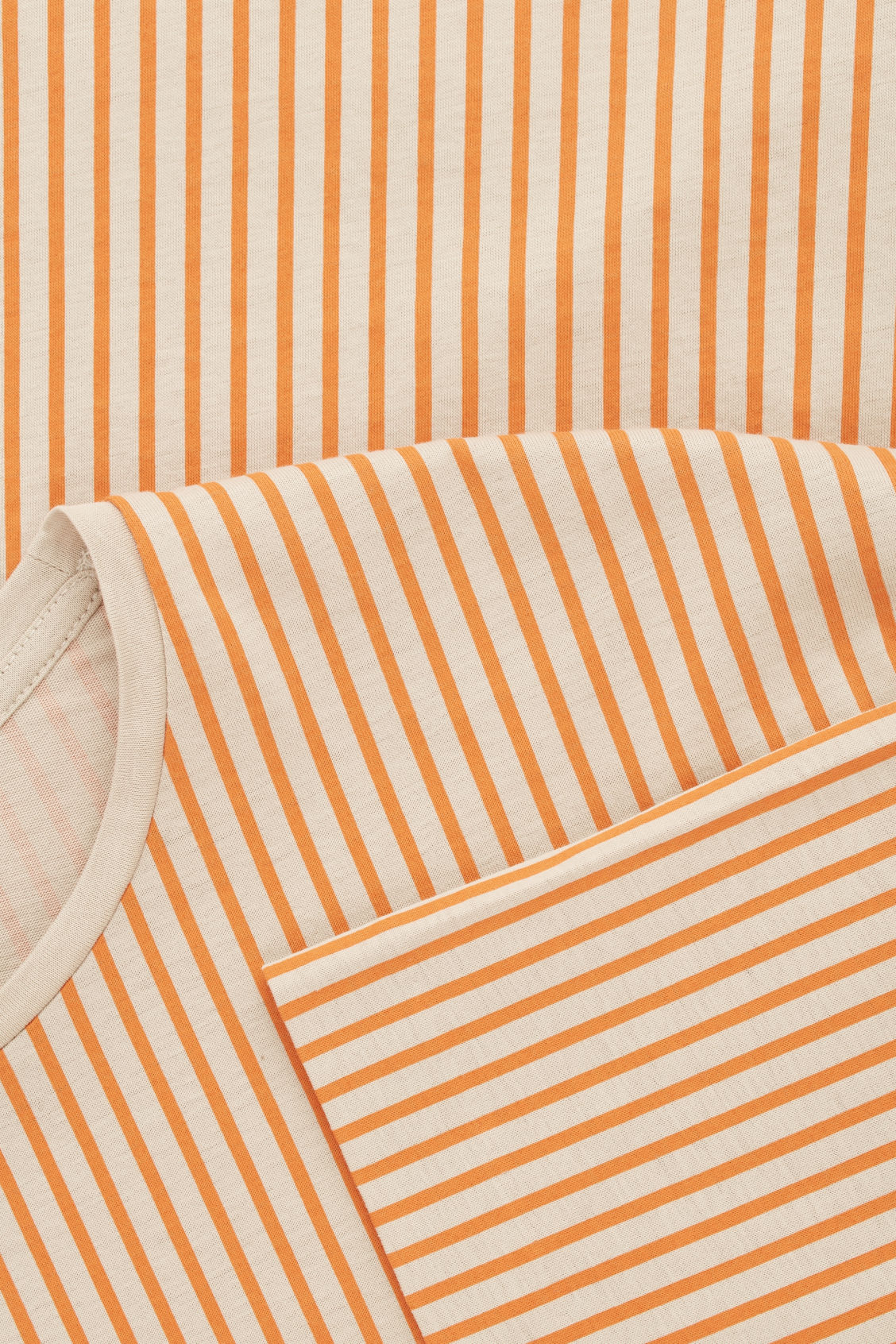 Side image of Cos fine-striped cotton t-shirt in orange