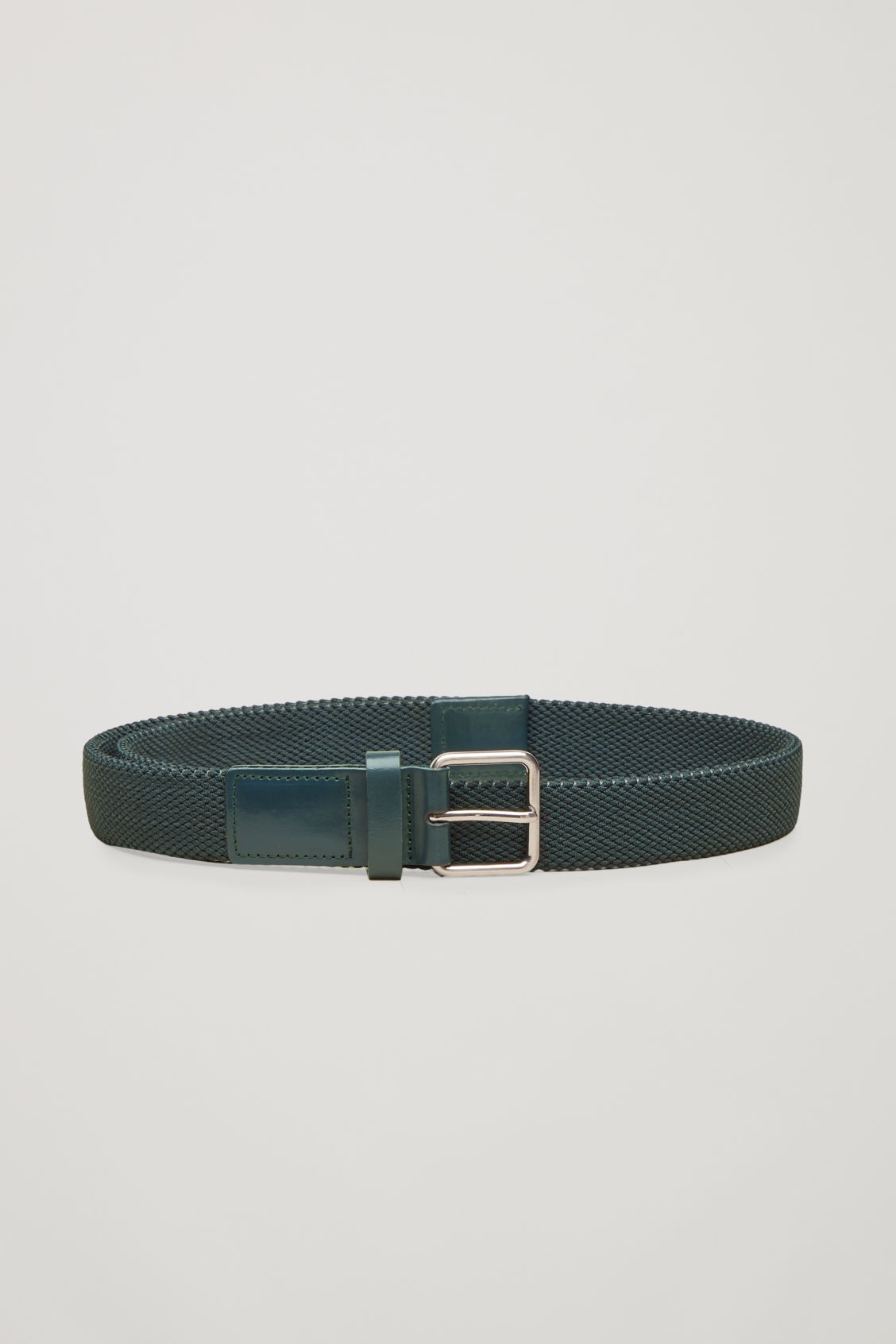 Front image of Cos textured elastic belt in green