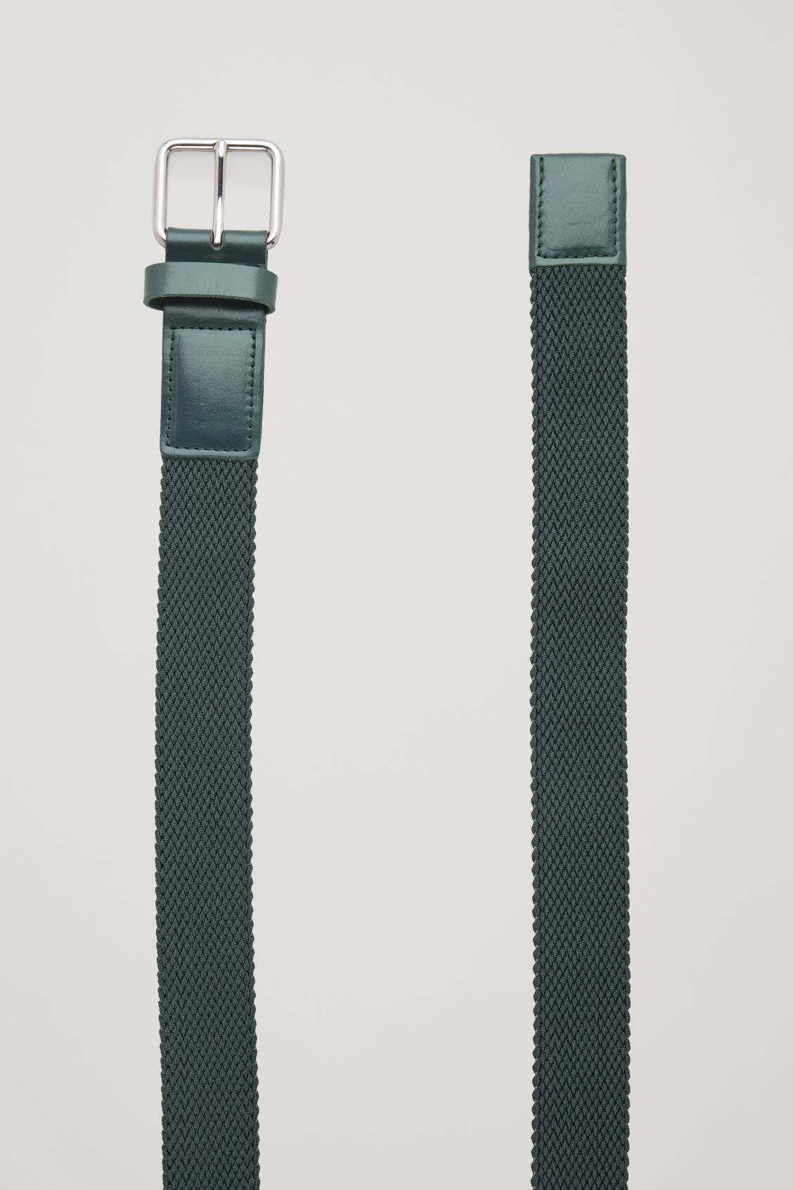 Side image of Cos textured elastic belt in green