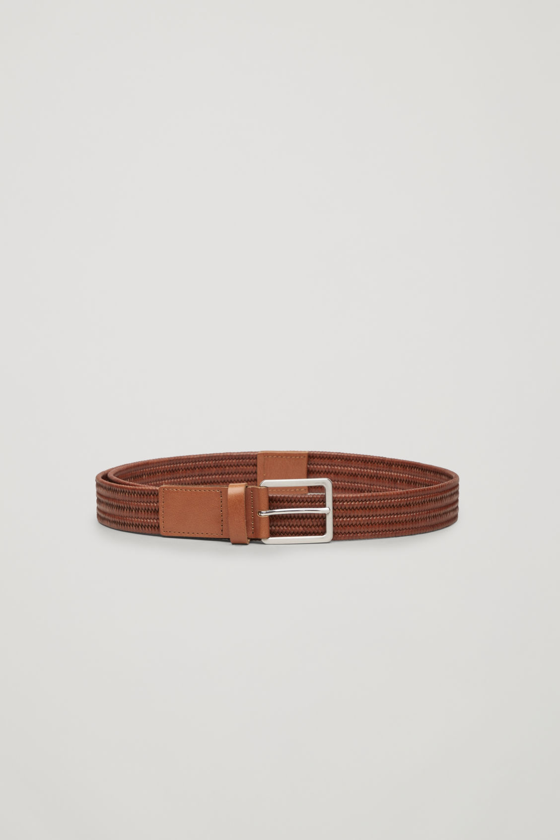 Front image of Cos braided leather belt with elastic in beige