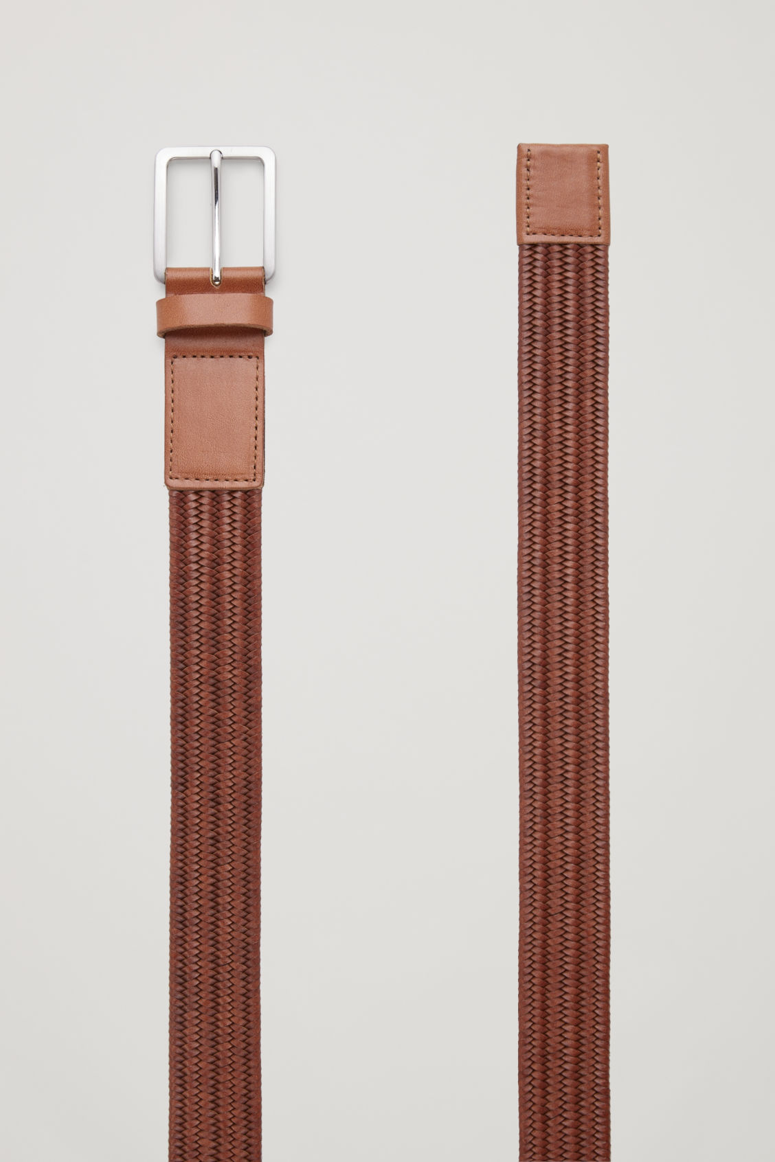 Side image of Cos braided leather belt with elastic in beige