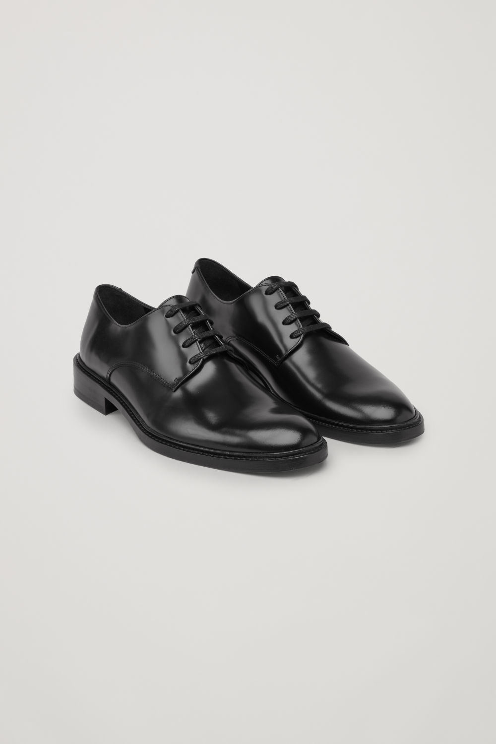 Front image of Cos polished leather derby shoes in black