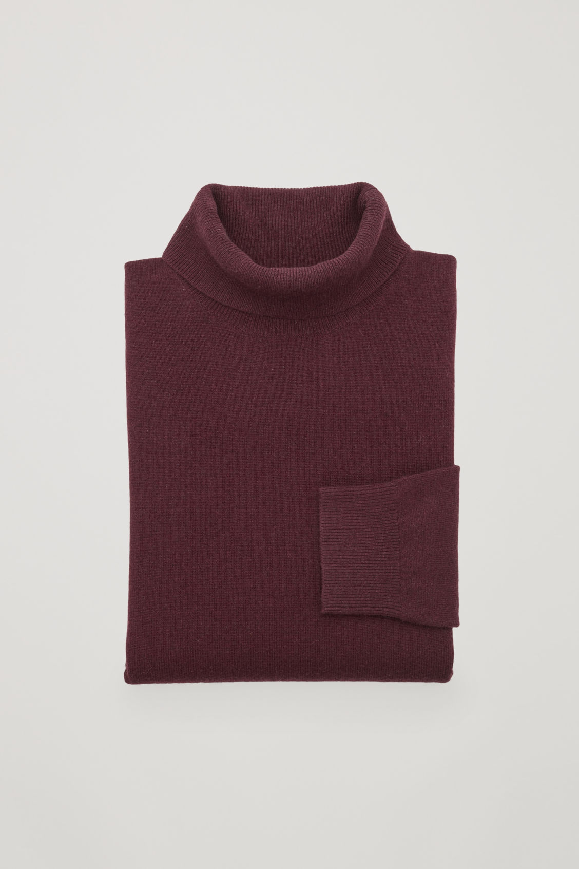Side image of Cos wool and yak roll-neck jumper  in red