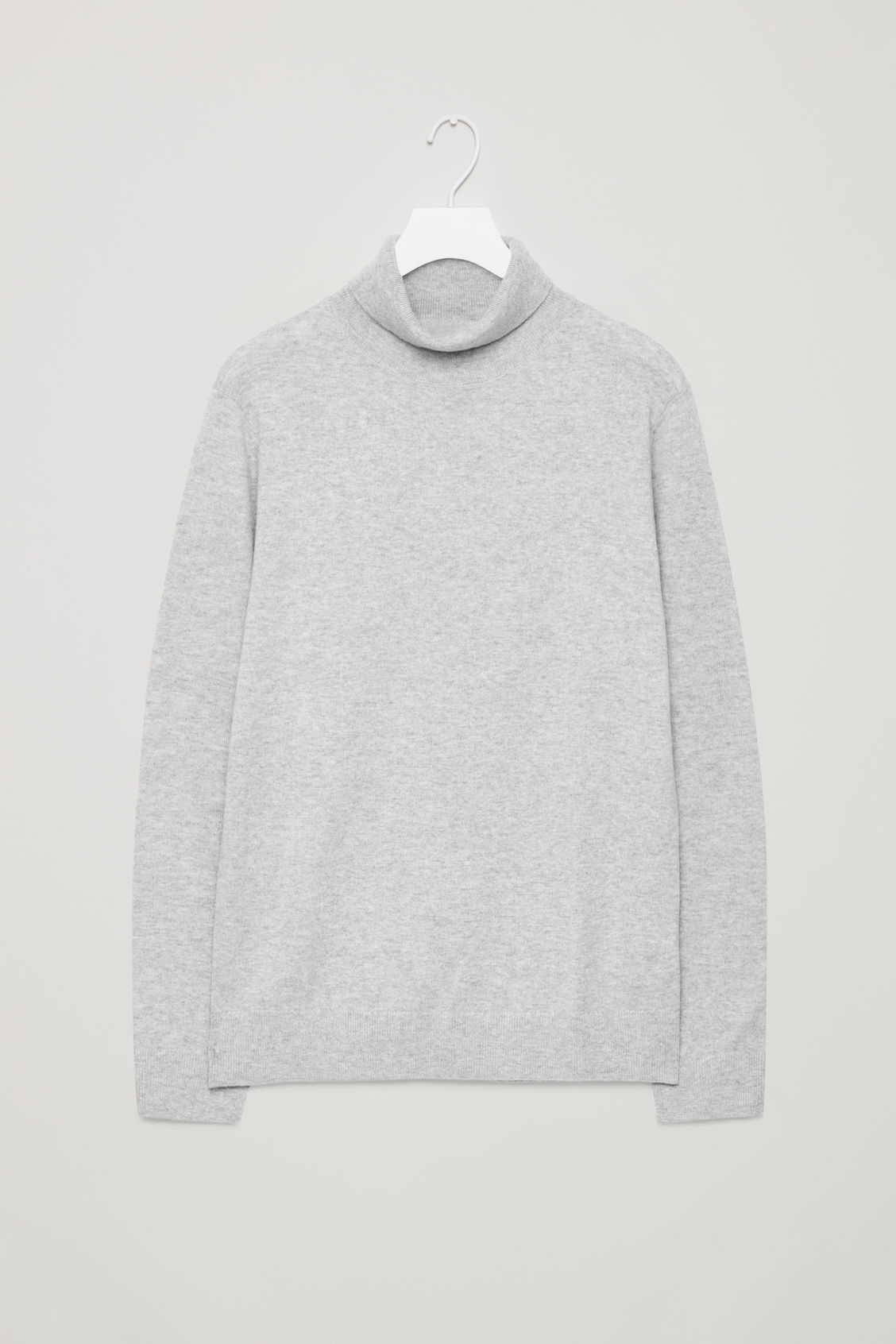 Front image of Cos wool and yak roll-neck jumper  in grey