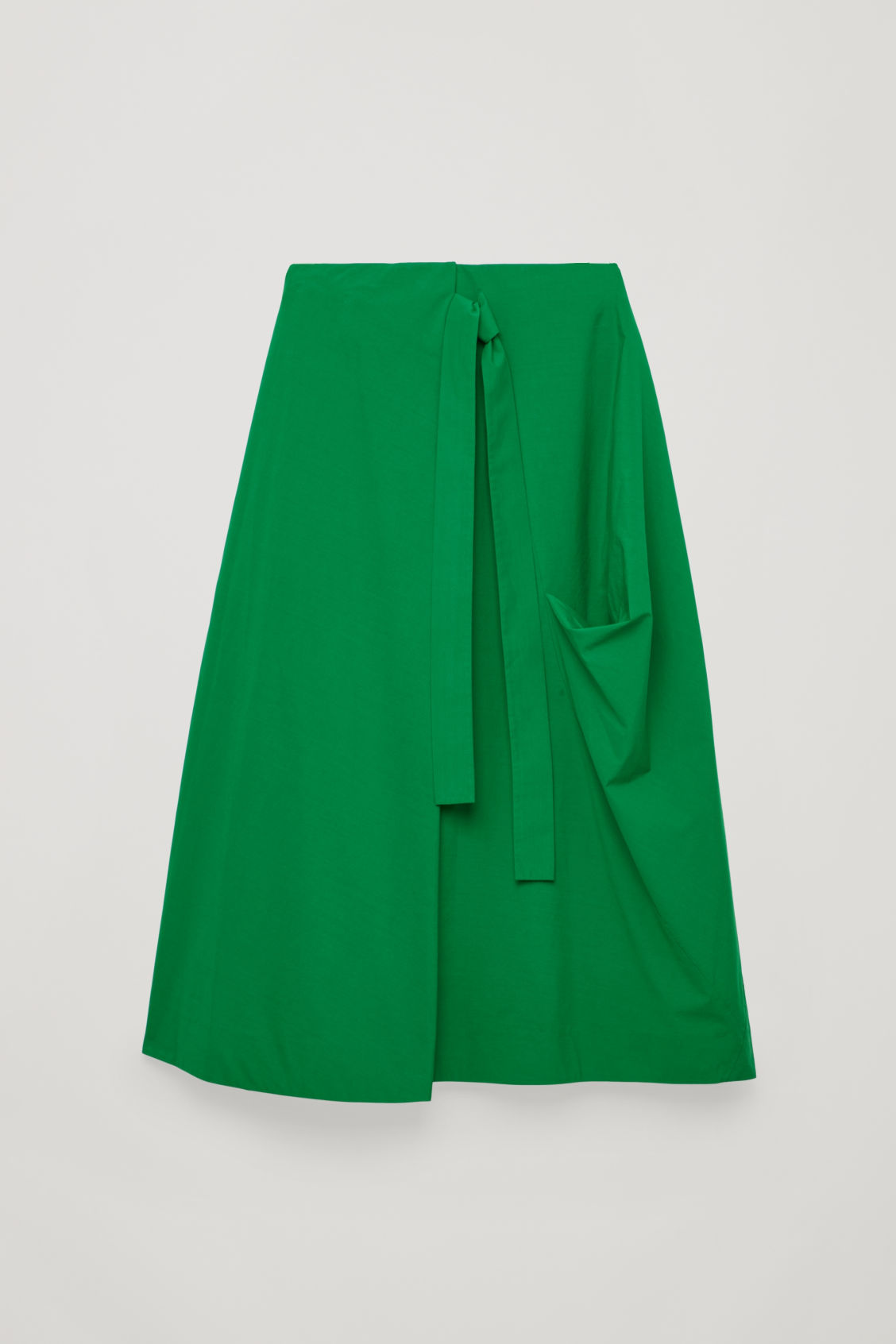 Front image of Cos a-line wrap-over skirt in green