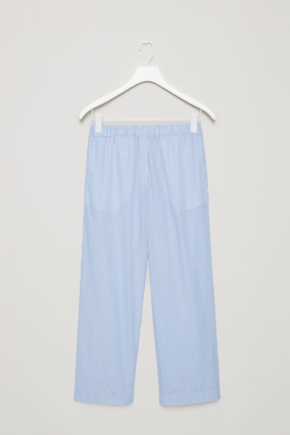 Front image of Cos striped cotton pyjama trousers  in blue