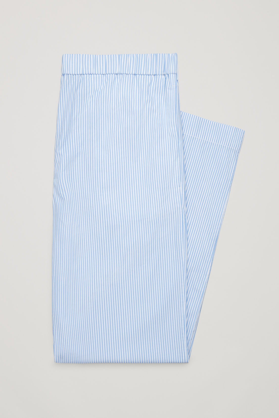 Side image of Cos striped cotton pyjama trousers  in blue
