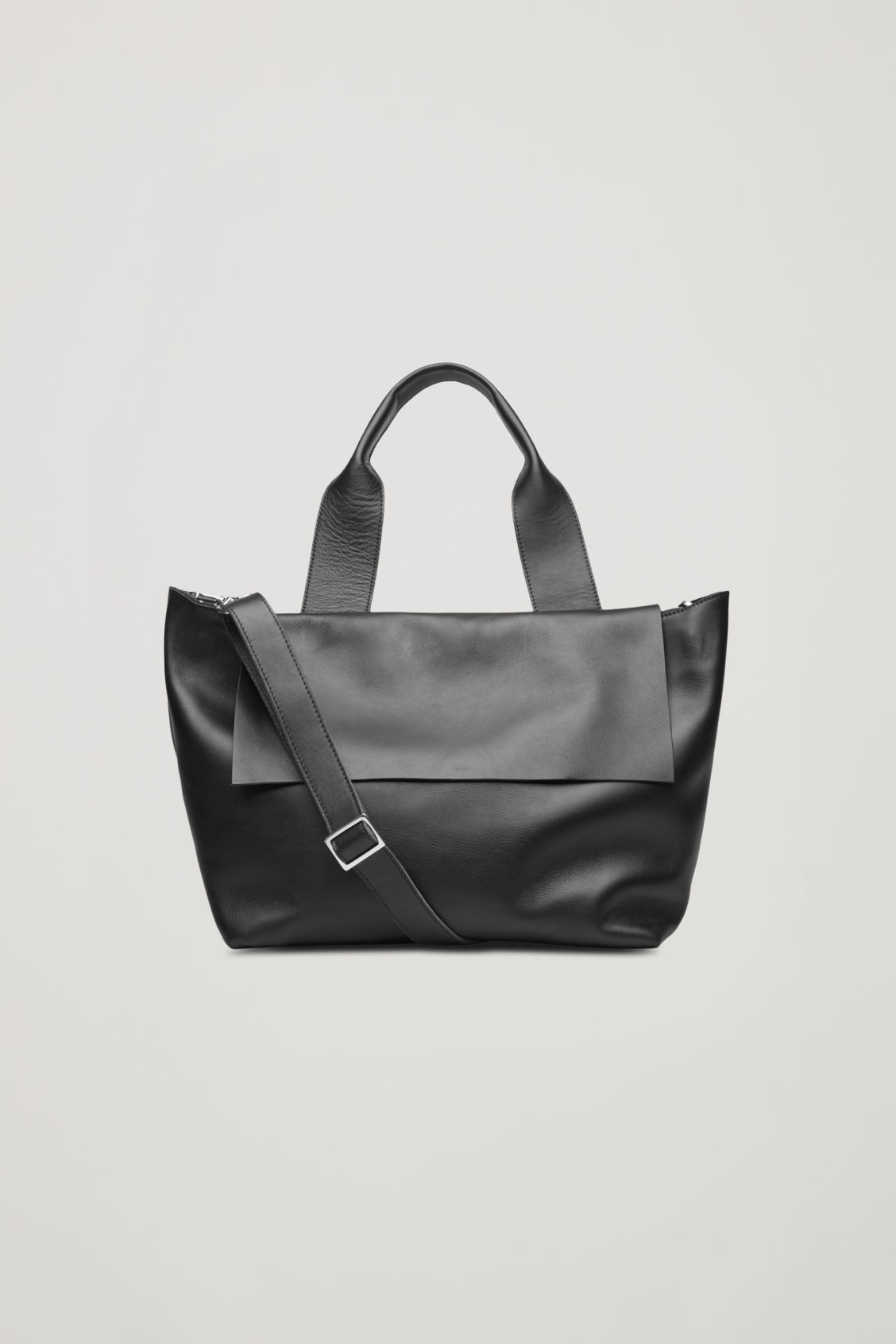 Front image of Cos leather tote bag with shoulder strap in black