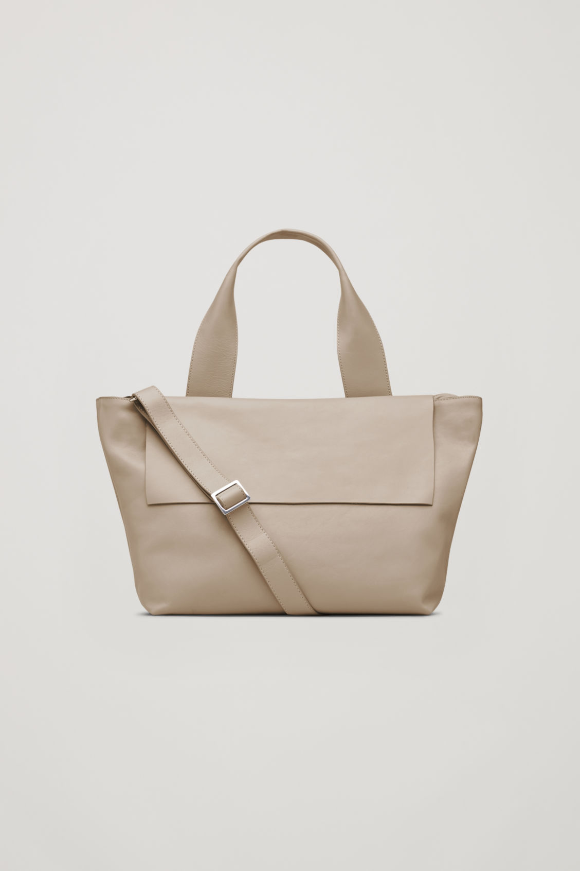 Front image of Cos leather tote bag with shoulder strap in beige