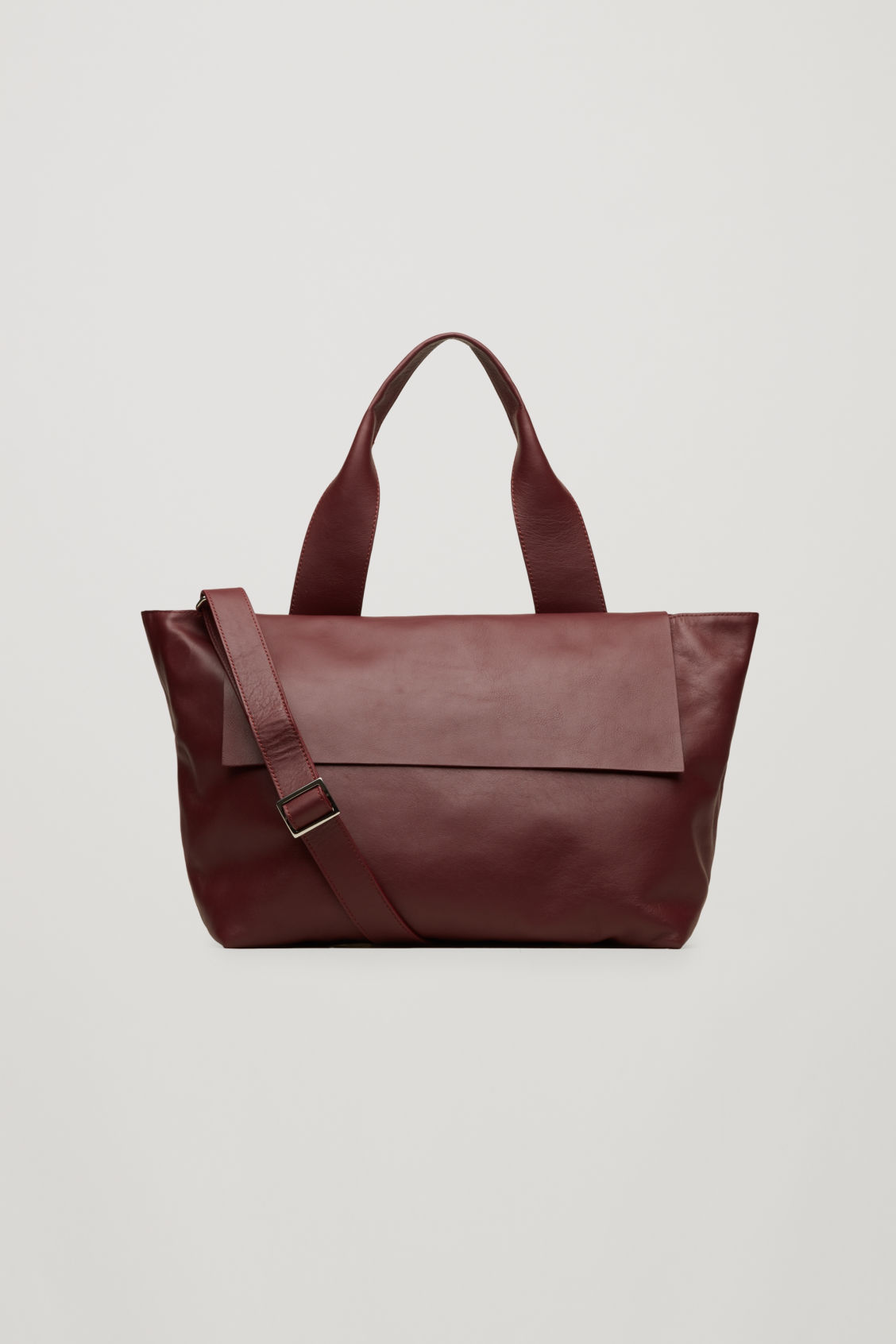Front Image Of Cos Leather Tote Bag With Strap In Purple
