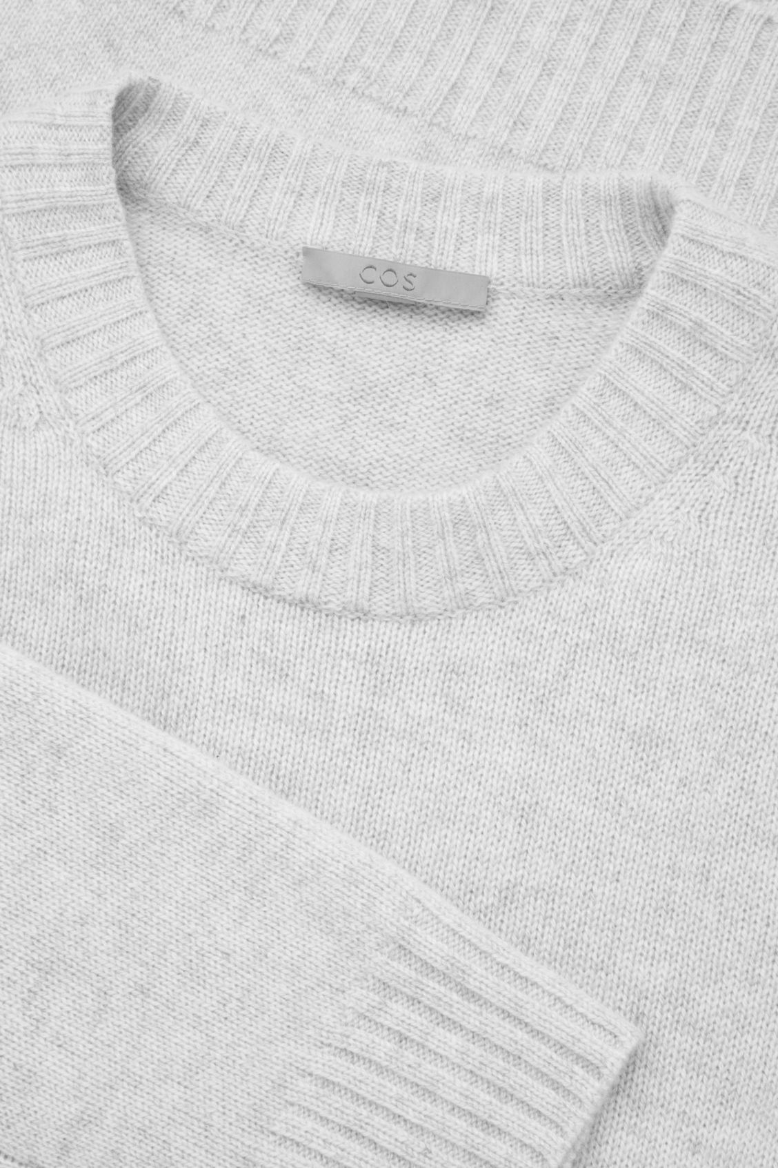 Side image of Cos round-neck cashmere jumper  in grey