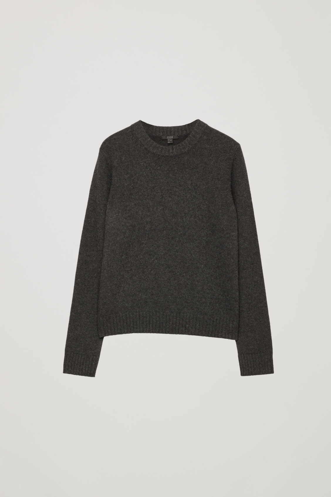 Front image of Cos round-neck cashmere jumper  in grey