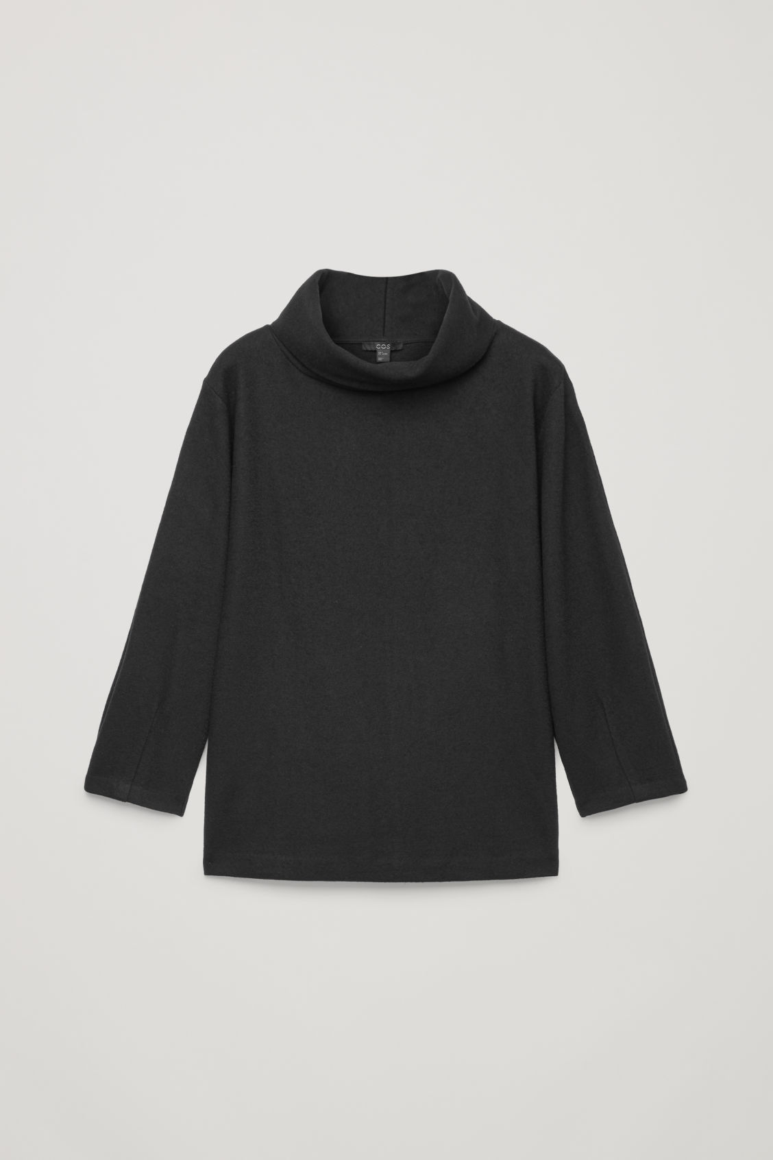 Front image of Cos jersey wool top with cocoon sleeves  in black