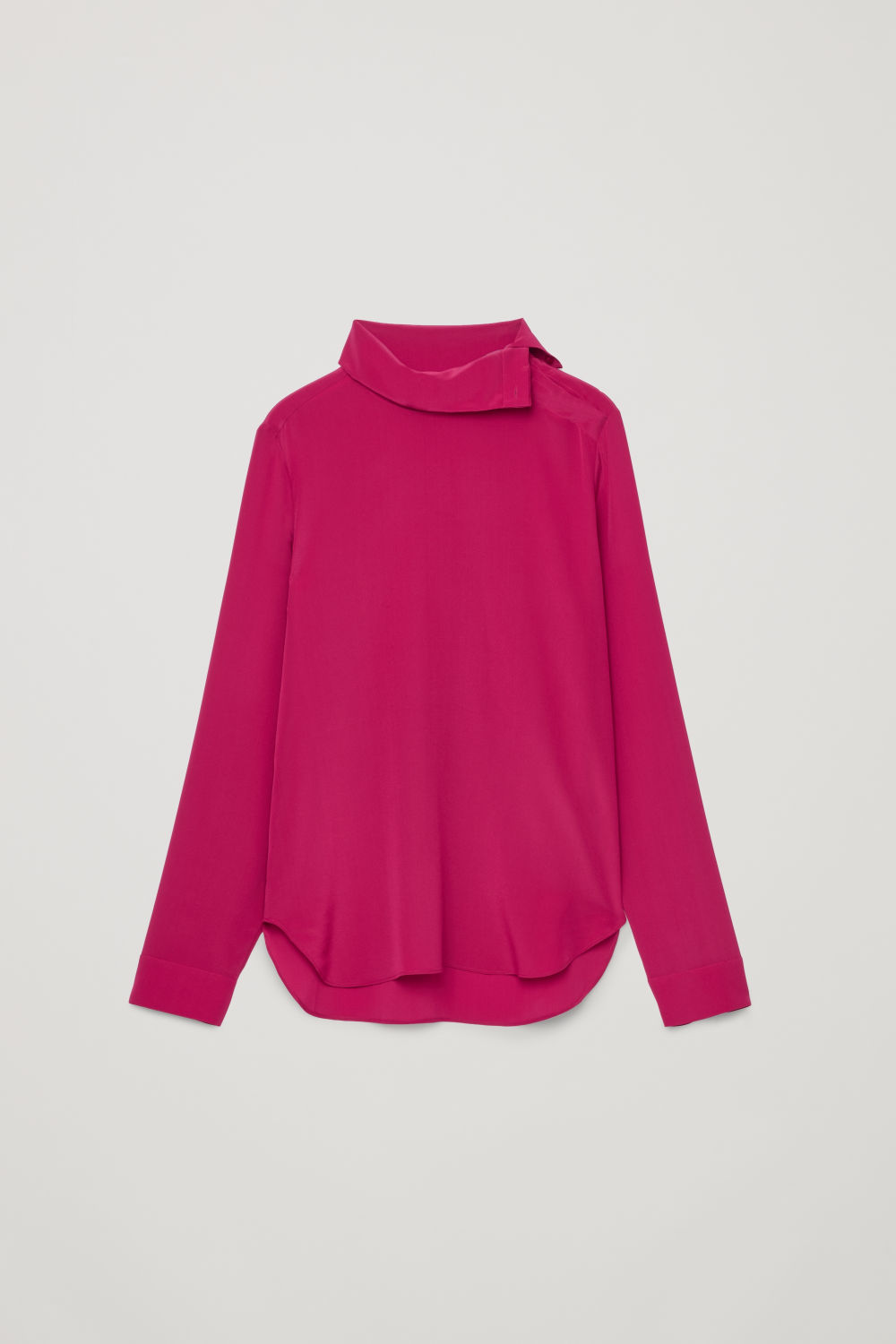 Front image of Cos high-neck silk blouse in pink