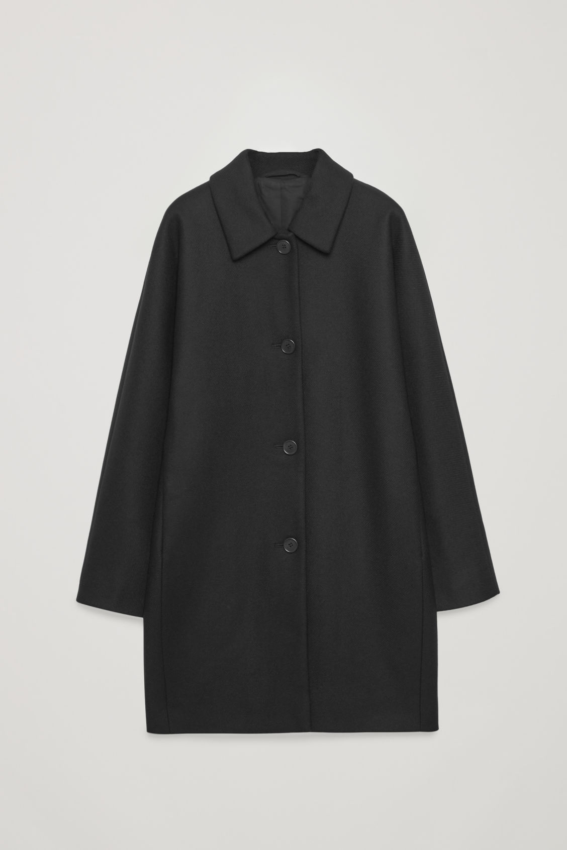 Front image of Cos single-breasted wool coat  in black