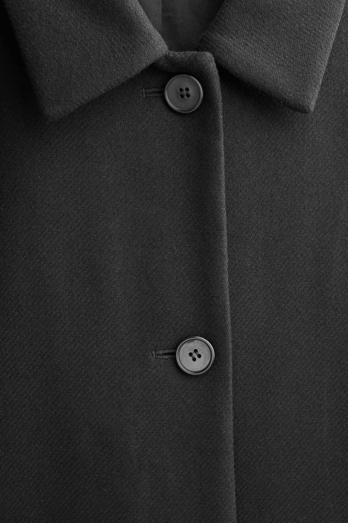 Side image of Cos single-breasted wool coat  in black