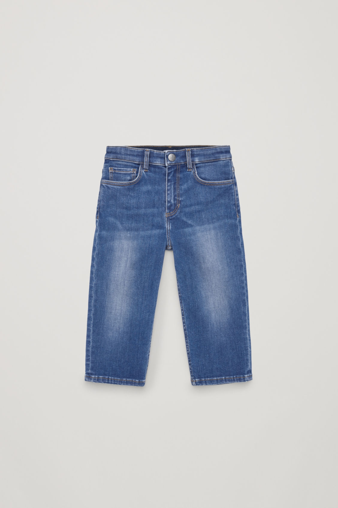 Front image of Cos cropped straight-leg jeans  in blue