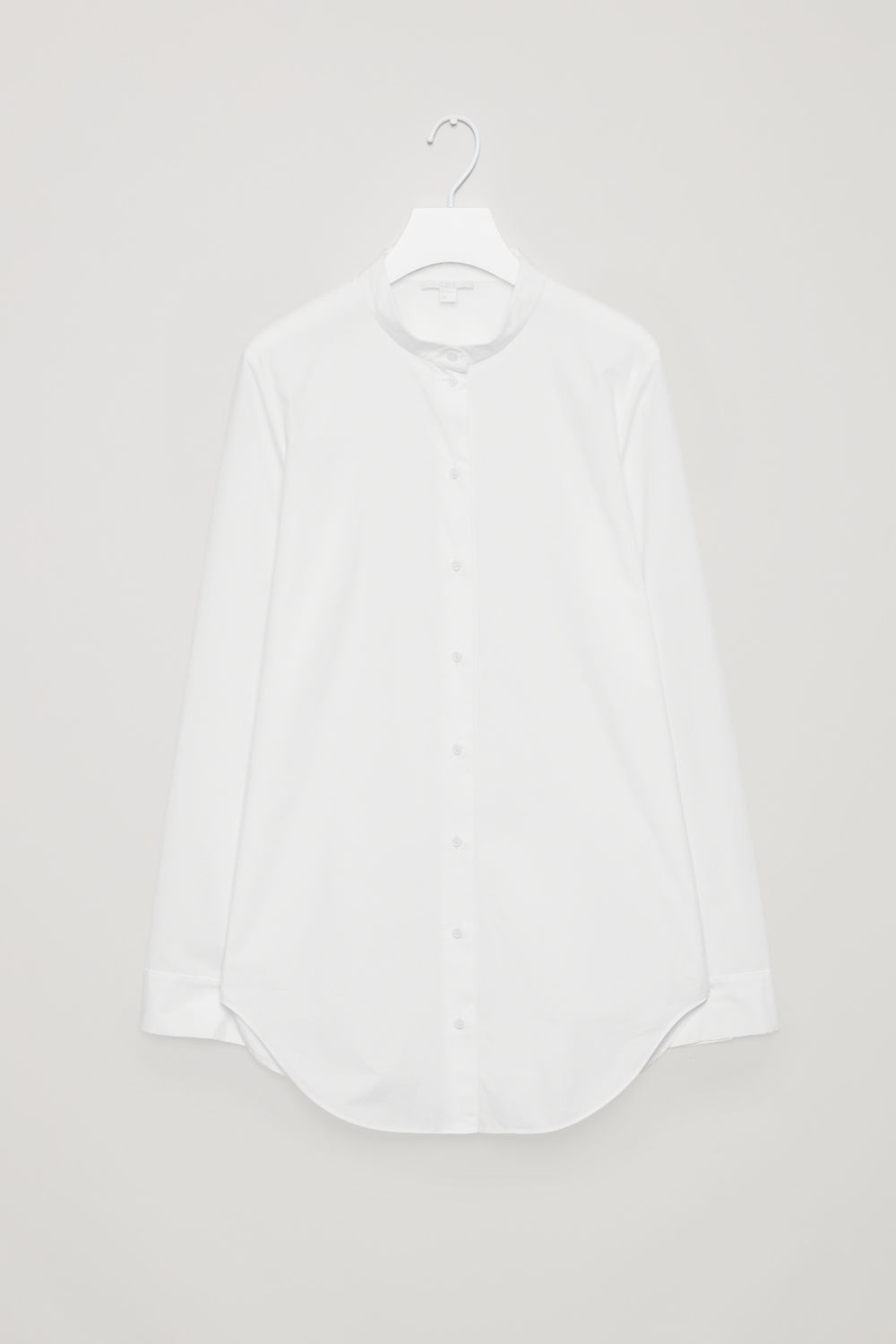 Front image of Cos grandad-collar shirt in white