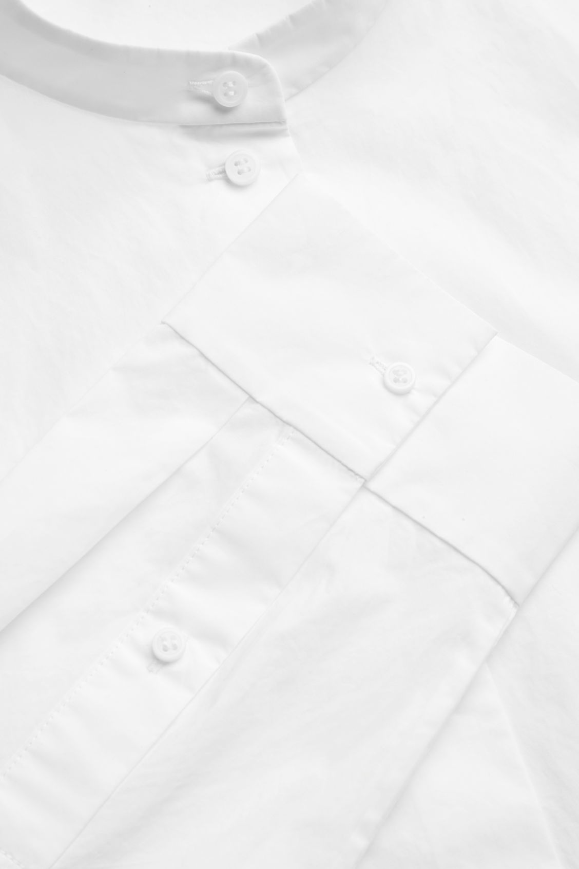 Side image of Cos grandad-collar shirt in white