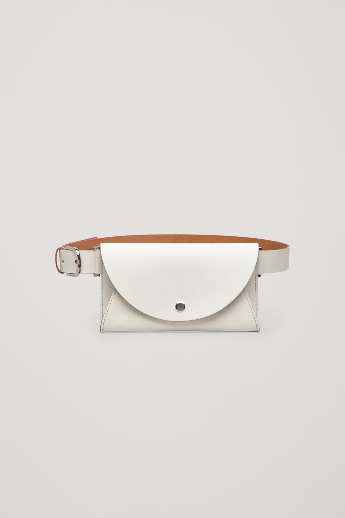 Front image of Cos belted pocket bag in white