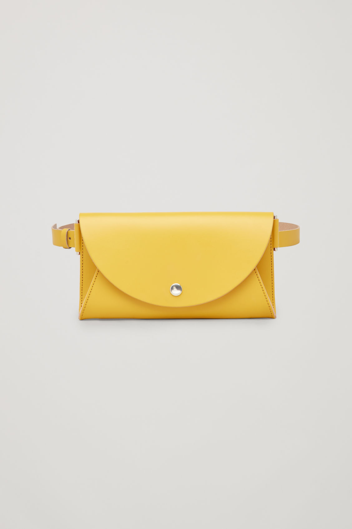 Front image of Cos detachable leather belt bag in yellow