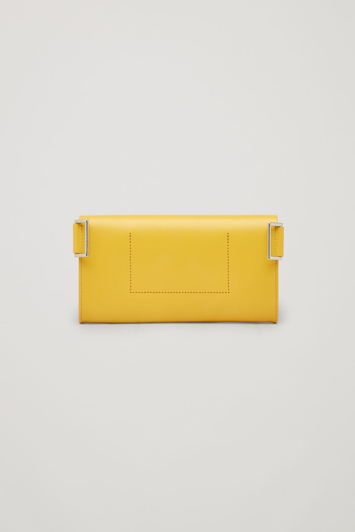 Side image of Cos detachable leather belt bag in yellow