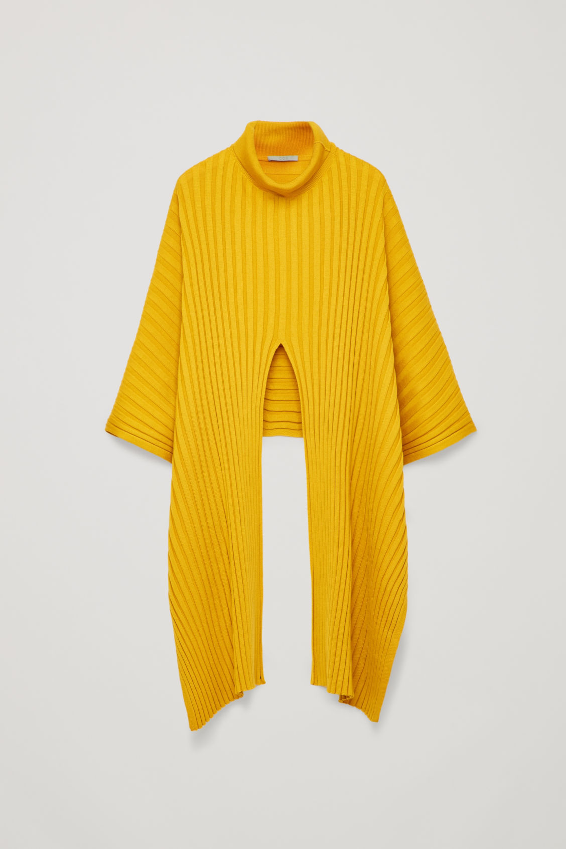 Front image of Cos ribbed roll-neck scarf in yellow