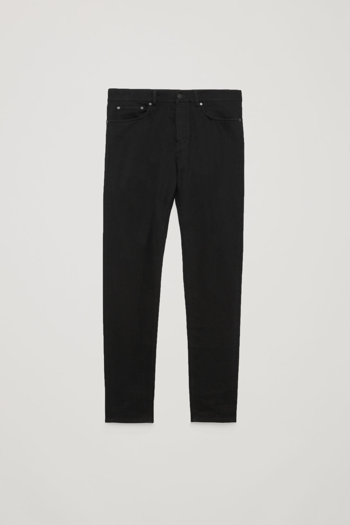 Front image of Cos slim tapered jeans in black