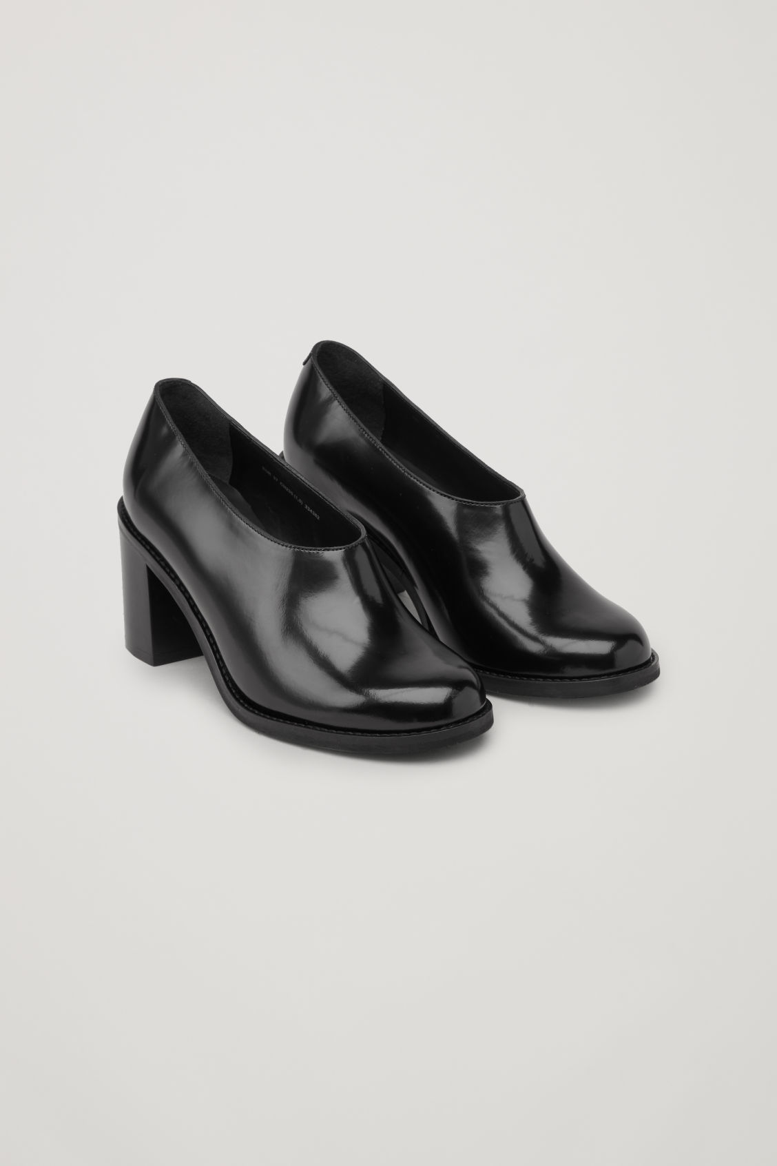 Front image of Cos chunky leather heels  in black