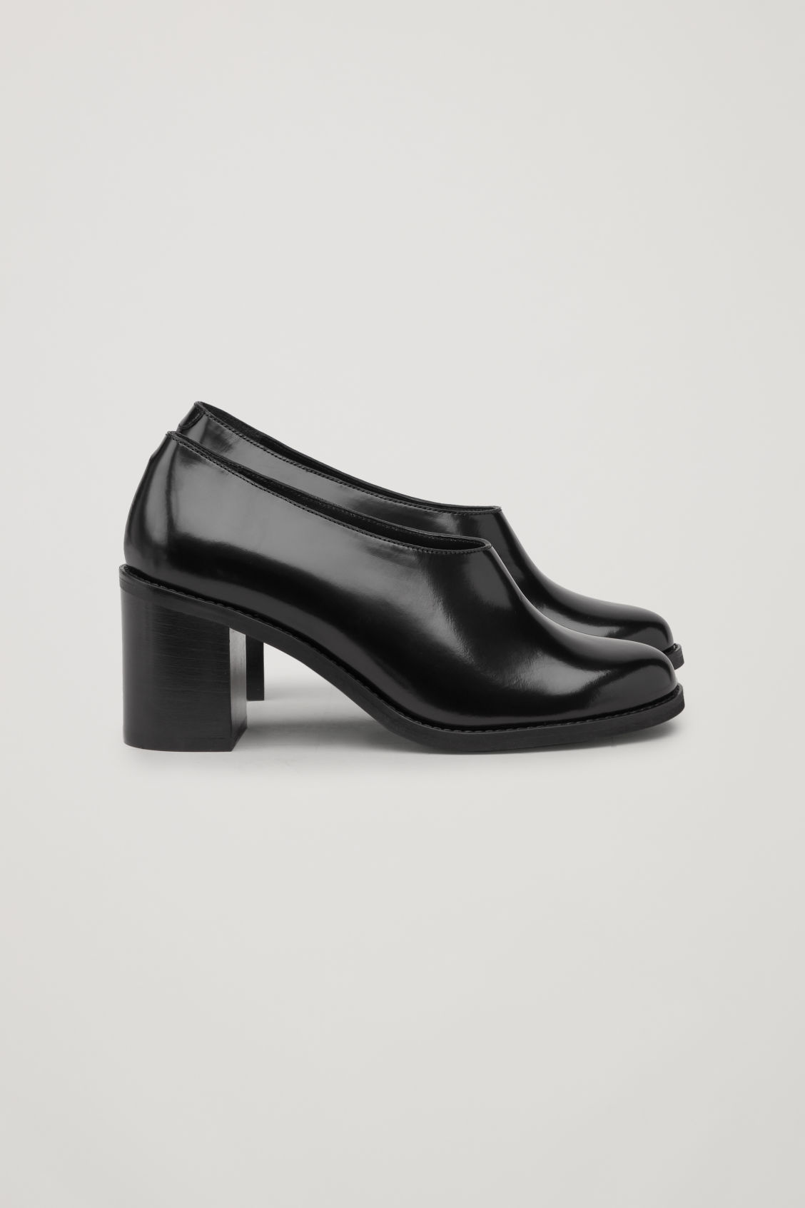 Side image of Cos chunky leather heels  in black
