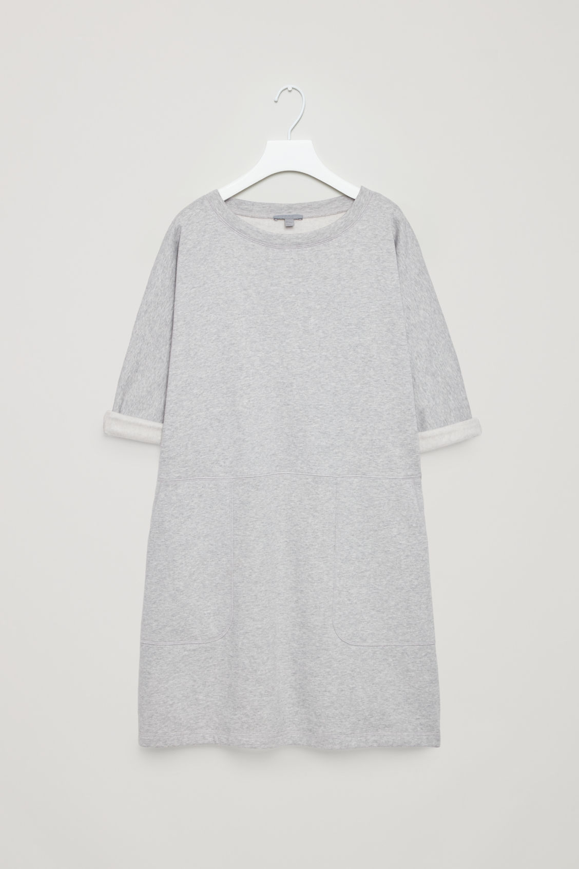Front image of Cos patch pocket jersey dress in grey