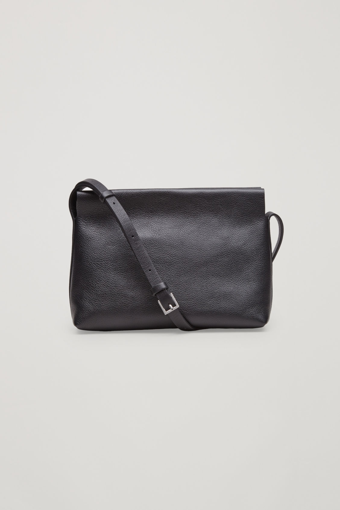 Front image of Cos textured leather shoulder bag  in black